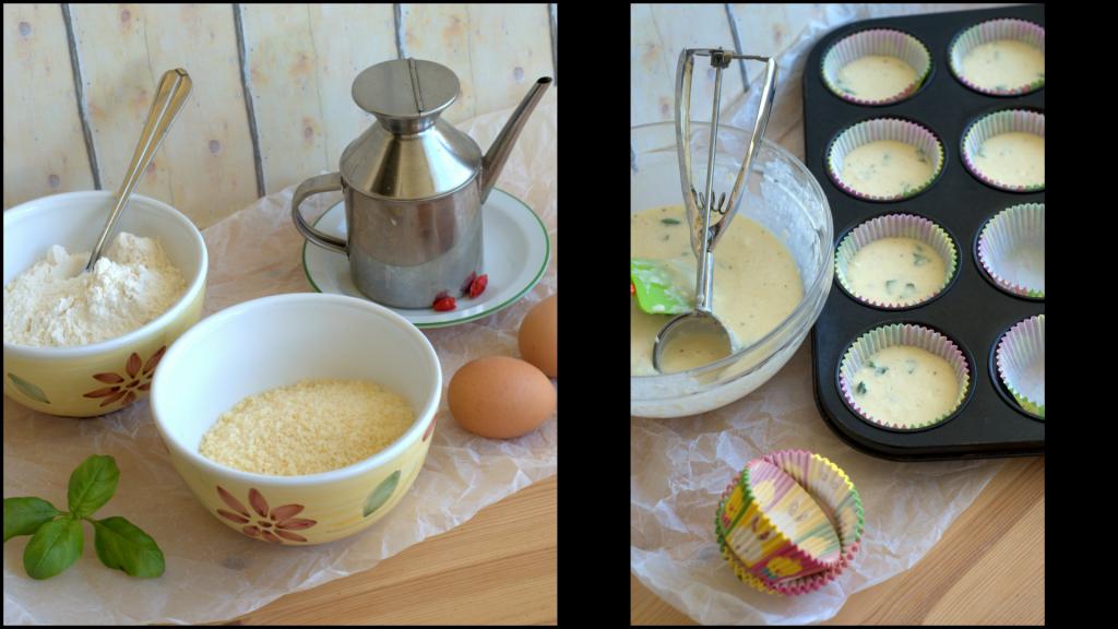 Muffin parmigiano e basilico passo passo