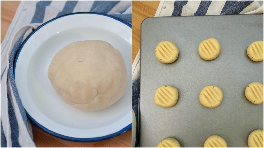 Preparazione biscotti con pasta di sesamo