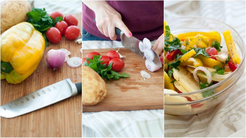Preparazione verdure per branzino al forno