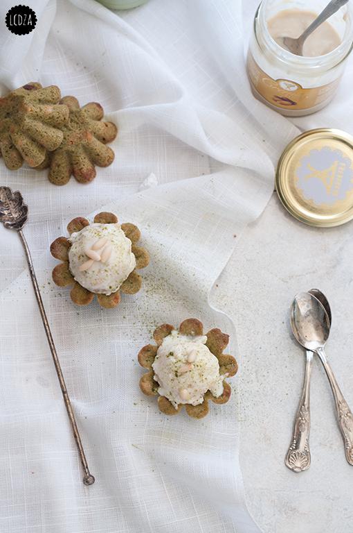 Cookies al matcha con gelato