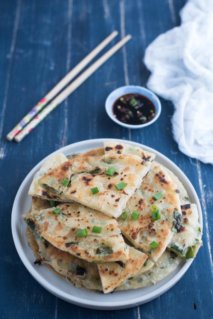 Pancake cinesi al cipollotto