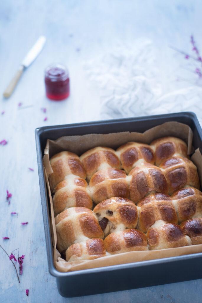Hot cross buns con metodo Yudane