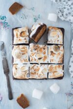 s'mores brownies with graham crackers crust