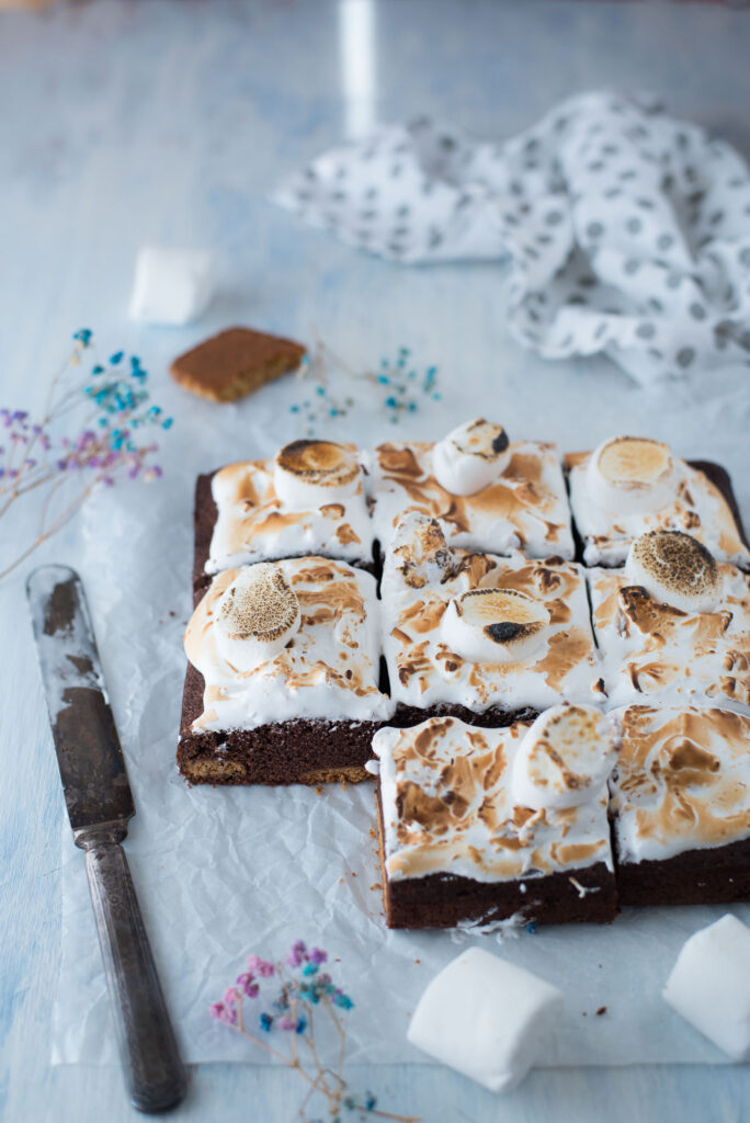 S'mores brownies with homemade Graham crackers
